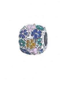 Charm pentru bratara, biluta decorata cu flori pictate, multicolore