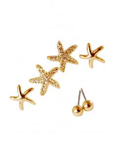 Set de trei perechi cercei minimal, stele cu cristale si bilute mici