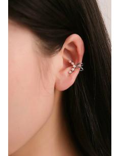 Cercel ear cuff minimal, semiluna cu 5 perle mici
