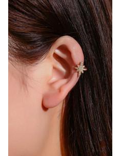 Cercel ear cuff minimal, veriga cu steluta si cristale