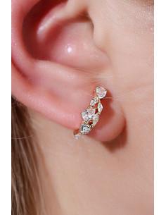 Cercel ear cuff minimal, veriga simpla cu cristale de diverse forme