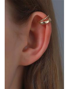 Cercel ear cuff minimal, dublu, cu o veriga subtire si una lata