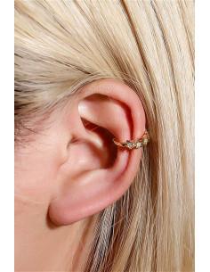 Cercel ear cuff minimal, veriga cu 5 stelute cu cristale