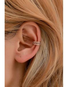Cercel ear cuff minimal, veriga lata cu model spiralat