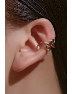 Cercel ear cuff minimal, veriga cu 5 frunzulite metalice