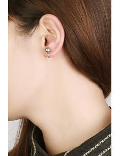 Cercel ear cuff minimal, veriguta subtire cu perla mare