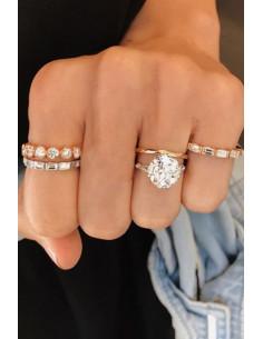 Set 4 inele minimal, verigute cu cristale rotunde si dreptunghiulare