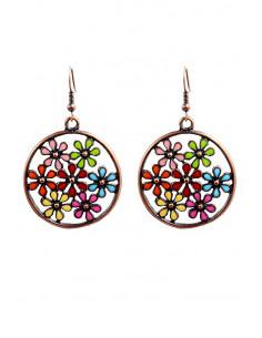 Cercei etnici eleganti, cercuri cu floricele colorate