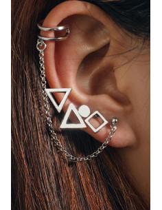 Set cercei si ear cuff cu triunghiuri, romb si lantisor