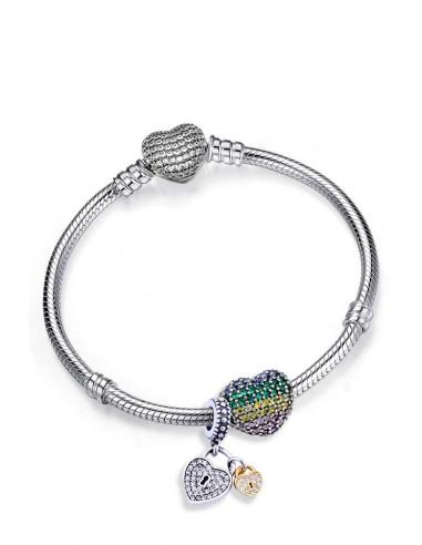 Bratara placata cu argint tip Pandora, inimioara cu cristale colorate si pandantiv cu inimioare