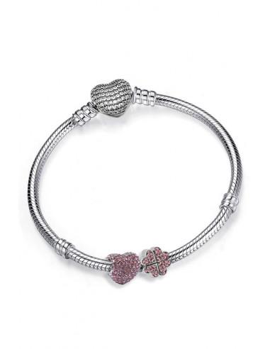 Bratara placata cu argint tip Pandora, inimioara si trifoi cu cristale roz