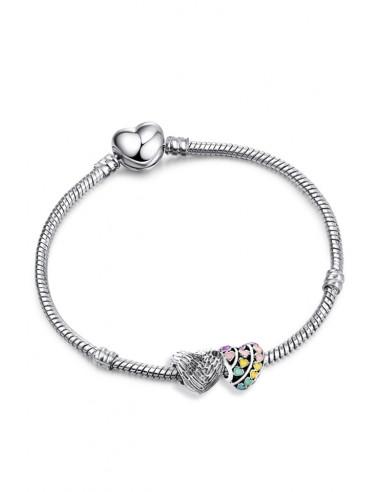 Bratara placata cu argint tip Pandora, charmuri cu inimioare colorate si aripi