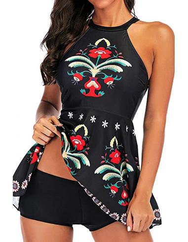 Costum de baie doua piese, boxeri si rochita, cu imprimeu floral