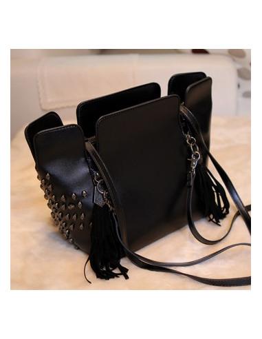 Geanta neagra, cu capete mici de schelet, geanta cu franjuri, geanta mare