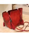 Geanta rosie, cu capete mici de schelet, geanta cu franjuri, geanta mare