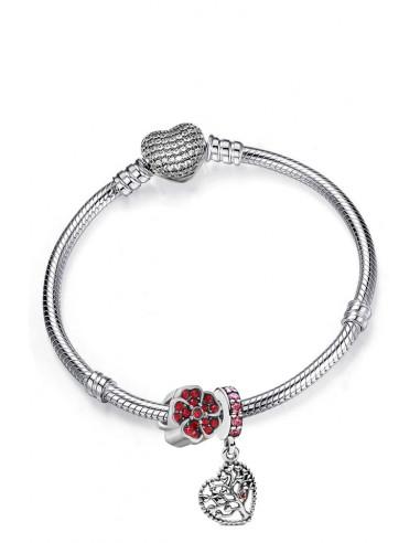 Bratara placata cu argint tip Pandora, floricica si charm cu inimioara si copac