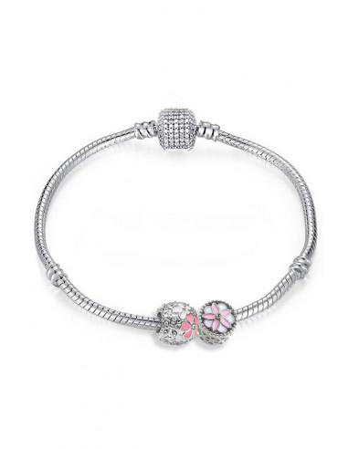 Bratara placata cu argint tip Pandora, flori albe, roz si cristale