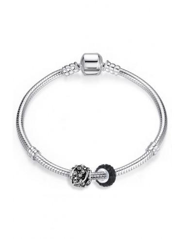 Bratara placata cu argint tip Pandora, charmuri cu foricele, cristale albe si negre
