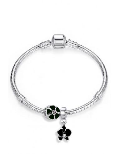 Bratara placata cu argint tip Pandora, charmuri cu floricele si orhidee pictate cu negru