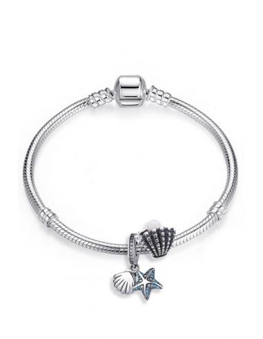 Bratara placata cu argint tip Pandora, charm si pandantiv cu scoici si stea de mare