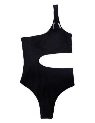 Costum de baie intreg, asimetric, o bareta cu inel si laterala decupata