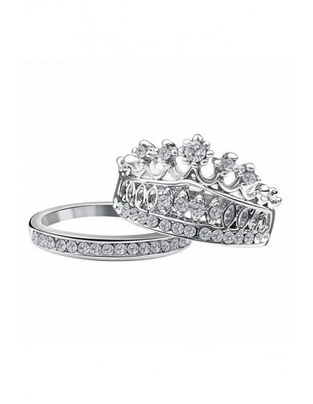Set 2 inele elegante cu cristale Crown Jewel