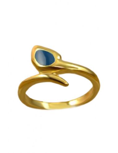 Inel vintage auriu, model sarpe incolacit, cu cap colorat