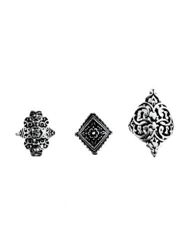 Set 3 inele argintii patinate, cu modele florale decupate