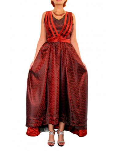 Rochie de seara din brocard negru cu rosu, rochie lunga cu cordoane legate la spate