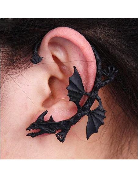 Cercel tip ear cuff, model cu dragon cu aripi scurte si gherute, coada ascutita, prindere in ureche