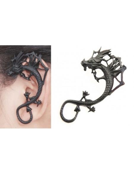 Cercel tip ear cuff, model cu dragon cu creasta si aripi, prindere pe ureche
