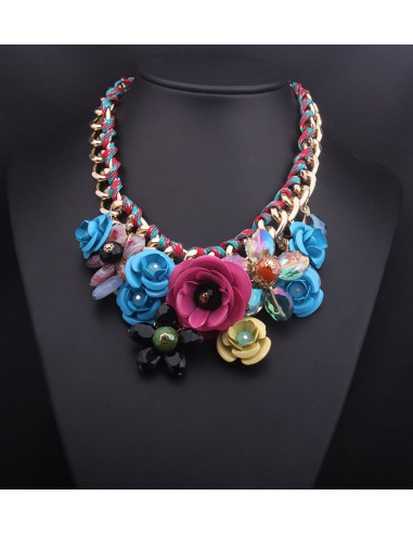 Colier statement cu flori mari si bogate, multicolore