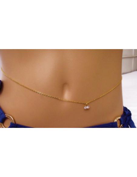 Lant pentru corp auriu, simplu in talie, doua cristale