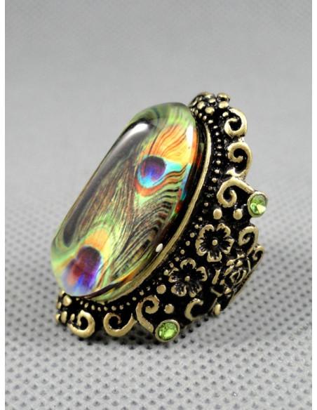 Inel elegant, model deosebit cu ornament tip pene de paun incastrate in cristal central, decorat cu flori laterale, inel vintage