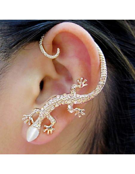 Cercel tip ear cuff, model soparla cu cristale