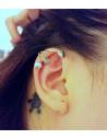 Cercel tip ear cuff, model argintiu cu trei frunzulite