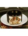 Bratara lata din piele ecologica cu tinte metalice aurii