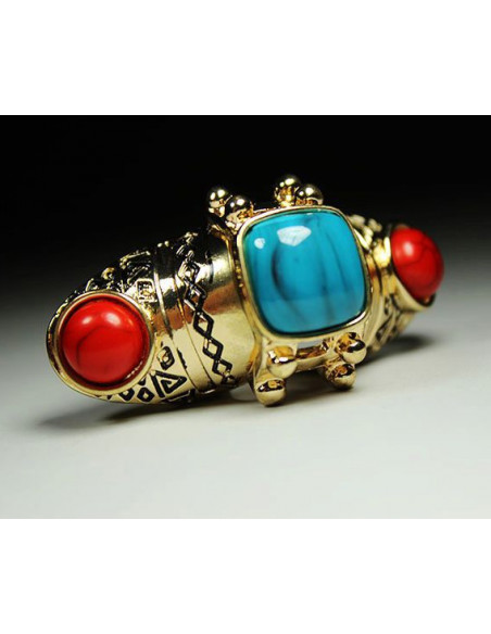 Inel auriu vintage, articulat, cu pietre rosii si turcoaz