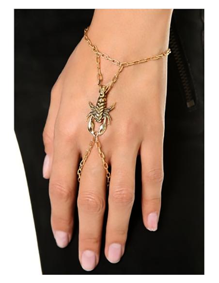 Bratara arabeasca cu inel, aurie, cu scorpion