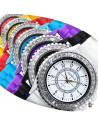 Ceas de dama casual Geneva, cu cristale si curea colorata din silicon
