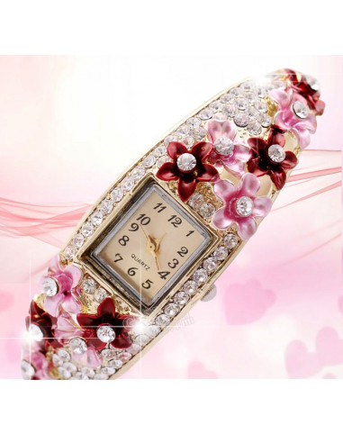 Ceas cu bratara aurie, flori roz si cristale