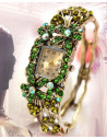 Ceas cu bratara aurie vintage si flori mov cu cristale