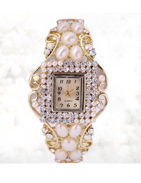 Ceas cu bratara aurie, cadran dreptunghiular cu cristale si perle
