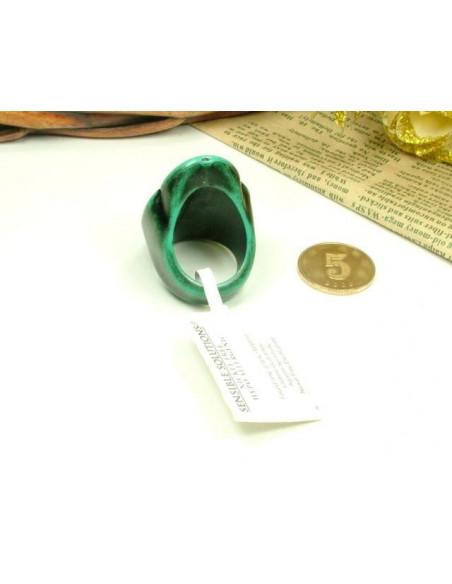Inel vintage, inel lung de culoare verde inchis, decorat cu motive florale