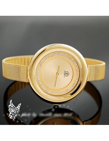 Ceas auriu cu bratara metalica flexibila si cadran mare rotund
