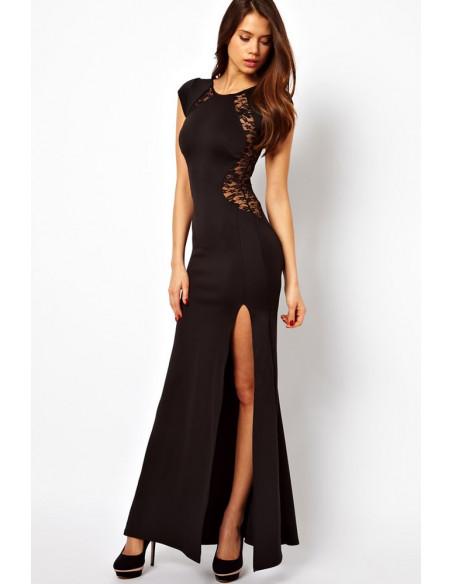 Rochie lunga neagra de seara cu dantela si slit pe un picior
