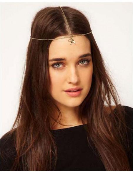 Bentita pentru frunte, model cu randunica aurie si lantisor delicat, bentita boho chic, bentita vintage