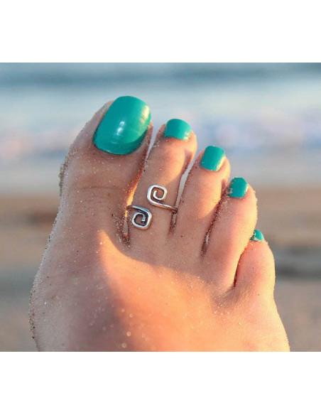 Inel argintiu delicat pentru picior