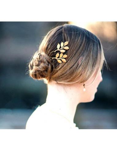 Agrafa decorativa pentru par, aurie, cu frunze