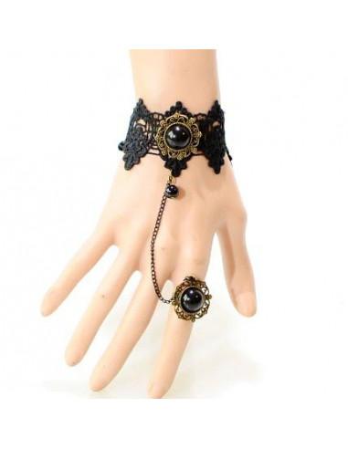 Bratara cu inel din dantela neaga cu medalion negru